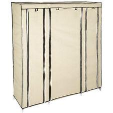 Triple fabric canvas cupboard wardrobe shelf storage with clothes rail camping b