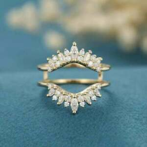 3.00 Ct Round-Diamond Solitaire Enhancer Guard Wrap Ring 14K Yellow Gold Finish