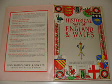 Bartholomew Historical Map of England & Wales by L G Bullock Scotland cloth map