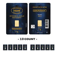 Lot of 10 -  IGR Mint 1 Gram 999.9 Gold Bar Sealed w Assay Certificate 24 Karat