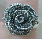 925 STERLING SILVER marcasite ROSE solid STRONG women's RING size 8.75US = R AUS