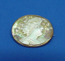ANTIQUE CAMEO PIN VERY COLORFUL CARVED ABALONE SHELL MOTHER OF PEARL