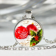 Red Christmas Ball Tibet silver Dome Glass Cabochon Necklace chain Pendant #76
