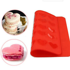 Heart Shape 30 Holes Silicone Macaron Mold Mat Baking Pastry Sheet Muffin Tray