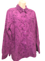 SAG HARBOR Women's Blouse XL (14) Long Sleeve Floral Button Down Shirt
