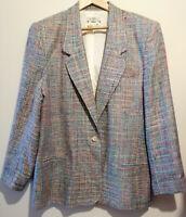 ORVIS Silk Multi Colour blazer Jacket padded shoulders vintage coat UK size 18