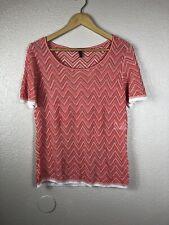 Escada Women's Crochet Top Short Sleeve Chevron Print Red White Size 44