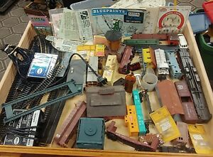 Vintage HO Train & Accessory LOT -Box cars, Track, Parts, Power Supplies, Decals