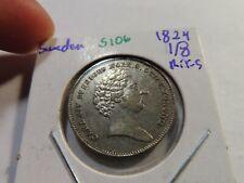 S106 Sweden 1824 1/8 Riksdaler Specie