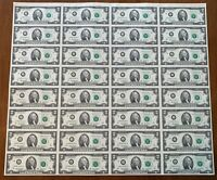 Uncut Sheet of 32 2003A $2 Notes! UNCIRCULATED!! J-A Block! Kansas City, MO!