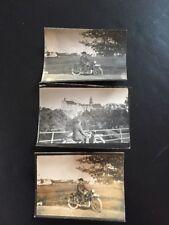 3 originale Antike Fotos Mann mit Motorrad 1929