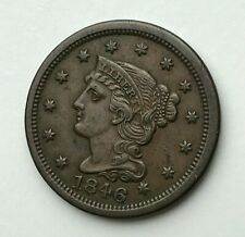 Dated : 1846 - Copper Coin - Braided Hair Cent - Large One Cent - America - USA