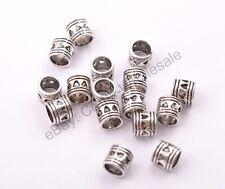 20/50/100Pcs Antique Tibetan Silver TUBE Big Hole Spacer Beads 5MM Hole CA3020