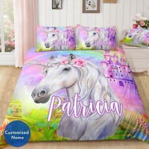 Twin - King Bedding Set Sheets, Duvet Pillow Cover Girls Unicorn Printed, Custom