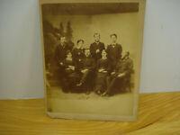 Antique Victorian Family Photo Cabinet Card Men & Women Studio Picture Large 9X7