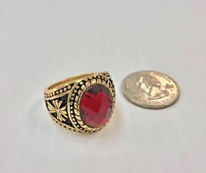 Red Stone Ring for Men Gold Plated #10/11, Anillo Para Hombre con Piedra Roja.