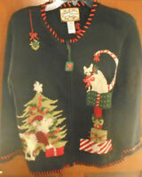 2002 HEIRLOOM COLLECTIBLES CAT DOG CHRISTMAS CARDIGAN ZIP SWEATER WOMEN'S SIZE S