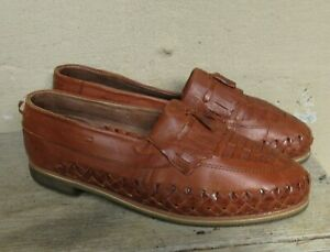 MEN'S Super Aztec Woven Leather Slip-on Loafers Tassels  Mexico  NEW Size 12