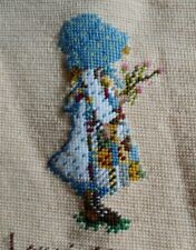 Vintage Finished Needlepoint Set 2 Pioneer Girl in Bonnet,Saying about Love