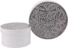 Vintage-Dosen XL 2er Set Ornament Grau Weiß Metall Emalliert Shabby Landhaus