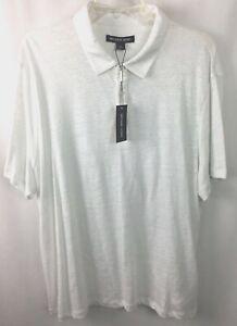 Michael Kors Polo Shirt Size XL Short Sleeve 100% Linen White A58