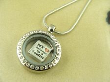 I LOVE MY SOLDIER MILITARY ARMY CHARM IN 20mm ROUND LOCKET WITH SILVER NECKLACE