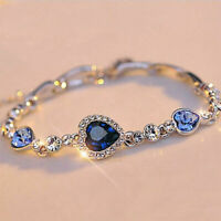 Women Blue Crystal Gift Bangle Bracelet Fashion Rhinestone Heart Ocean Diamond