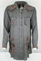 New Scully Women's Charcoal Embroidery & Stud Snap Up Blouse Medium or 2XL HC501