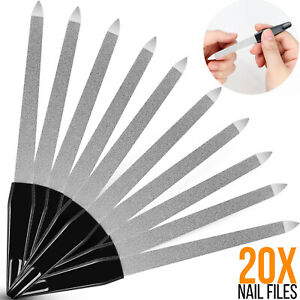 20 Pcs Stainless Steel Double Sided Nail File Manicure Pedicure Grooming Tool