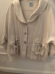 Quirky COMPLETO LINO by ARTHURIO Cream Arty 100% Linen Flax Summer Jacket Size M