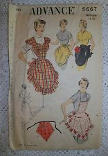Advance 1950s Sewing Pattern #5667 Full and Hostess Aprons Medium 14-16