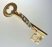 9k Turquoise and Seed Pearl KEY BROOCH-375 yellow gold