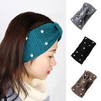 Women Crochet Headband Knit Turban Bow Knot Pearls Winter Warm Head-wrap Fashion