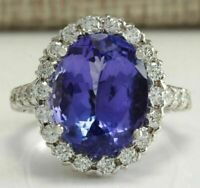 4Ct Oval Cut Blue Tanzanite Attractive Halo Engagement Ring 14K White Gold Over