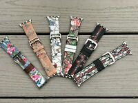 Apple Watch Band leather floral  Iwatch Series SE 6 5 4 3 2  44mm 42mm 40mm 38mm