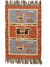 Kilim Rug Birds Wool Jute Indien 60x90cm 2x3' Kelim Maroon Blue Black Handmade