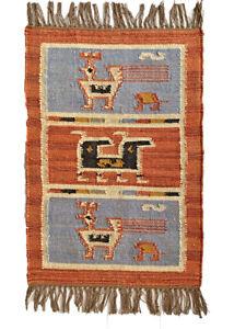 Kilim Rug Birds Wool Jute Indian 60x90cm 2x3' Kelim Maroon Blue Black Handmade