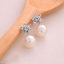 Nice Women Lady Crystal Rhinestone Pearl Ear Stud Silver Plated Earrings Jewelry