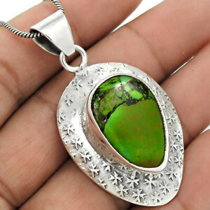 Pear Shape Turquoise Gemstone Jewelry 925 Fine Sterling Silver Pendant I6