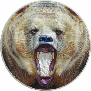 2020 Tanzania Rare Wildlife Grizzly Bear 2 oz 999 Silver Coin - 999 Mintage