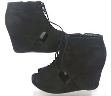Jeffrey Campbell Mary Roks Open Toe Perforated Suede Booties US 9.5 Light Wear