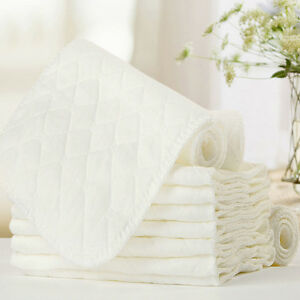 Baby Bamboo Fiber Insert Liners For Cloth Diaper Nappy insert 3 Layers Cotton