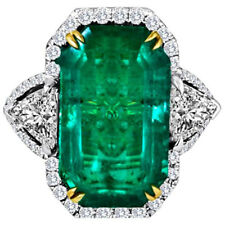 Luxury Green Large stone Silver Queen Rectangle Hand Ring Small Large XL FR307