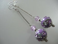 Vintage Art Deco Style Indonesian Ceramic Bead, Crackle Glass Long Earrings Prom