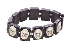 Edgy/ quirky white skeleton square/one size fits all wooden hand bracelet(ZX240)