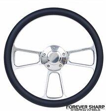 "14"" Aluminum Navy Blue Steering Wheel to 3 Bolt Grant APC Adapter Column"