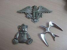 Estate Costume 3 Piece Silver Tone Pin Pendant Lot Bear Eagle Seagull Sarah Cov