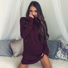 Women Long Sleeve Knitted Bodycon Jumper Dress Winter Sweater Party Mini Dresses