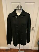 Vince Black Knit Peacoat Double Breasted Cardigan Sweater, Size L