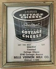 Nouvelle annonce Rare Old Original Vintage Sealtest Creamed Cottage Cheese Ad Cleveland Framed
